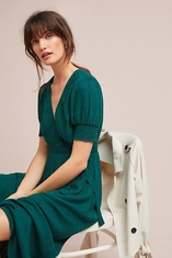 WESTERN WOMEN ELEGANT SHORT SLEEVE LONG GREEN WRAP DRESS MIDI DRESSES WRAP