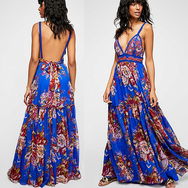 2018 Summer Women Sexy Maxi Dress Backless Fashion Casual Beautiful Kaftan Dress Strap