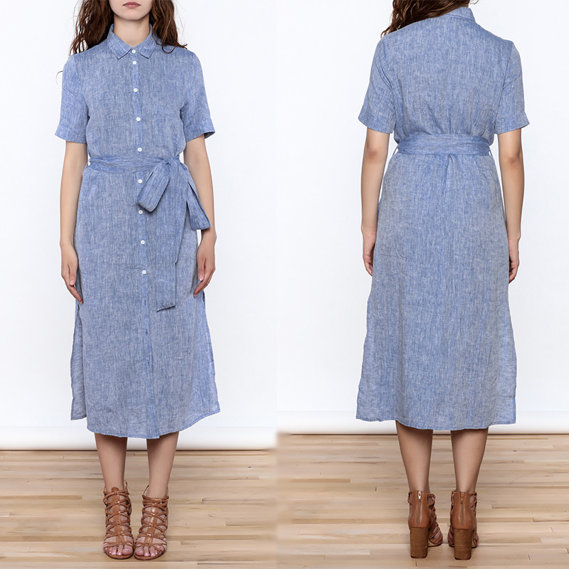Women Casual Button Down Solid Midi Linen Dresses ladies